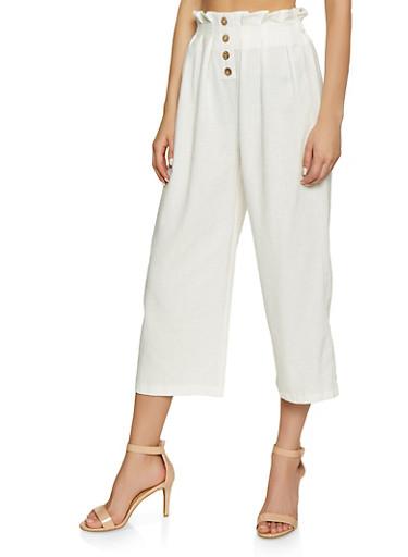 Paper Bag Waist Linen Trousers,WHITE,large
