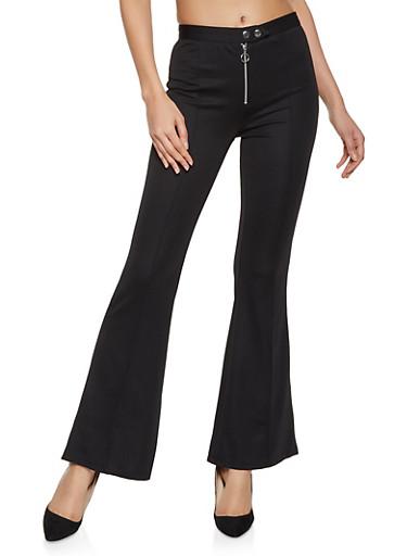 Pintuck Flared Dress Pants,BLACK,large