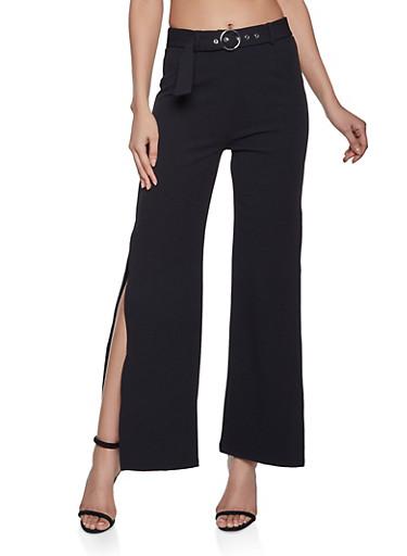 Belted Wide Leg Dress Pants,BLACK,large