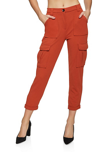 Crepe Knit Cargo Pants,RUST,large