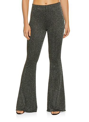 Glitter Knit Striped Flared Pants,SILVER,large