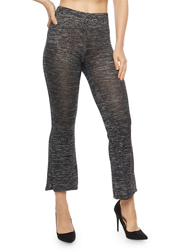 Marled Soft Knit Flared Pants,CHARCOAL,large