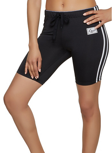Graphic Love Band Active Shorts,BLACK,large
