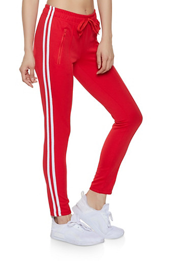 Varsity Stripe Pintuck Track Pants,RED,large