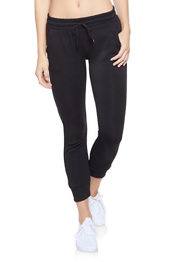 Fleece Lined Sweatpants,BLACK,large