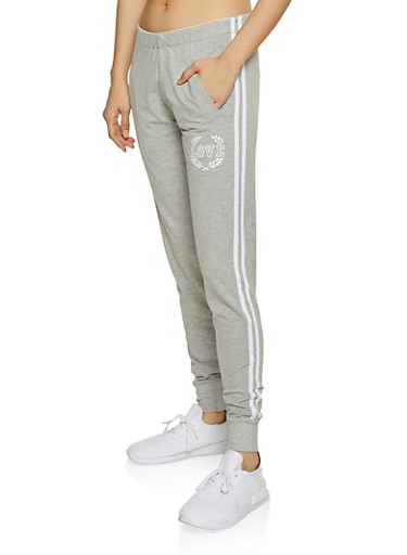 Love Graphic Varsity Stripe Joggers,HEATHER,large