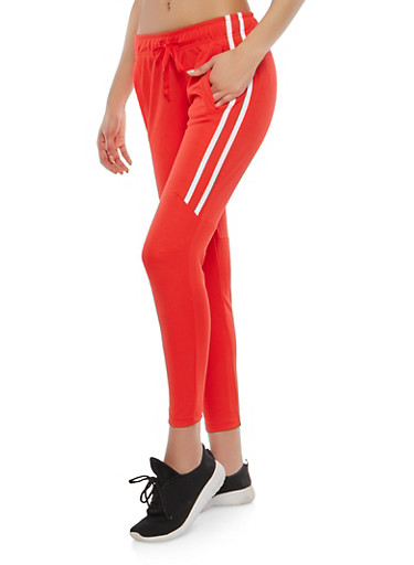 Side Stripe Joggers,RED,large