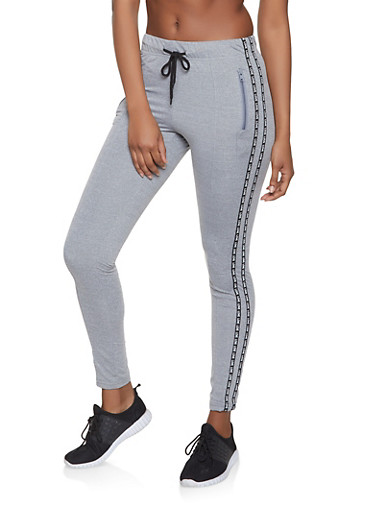 Love Graphic Varsity Stripe Track Pants,HEATHER,large