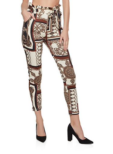 Printed Paper Bag Waist Dress Pants,BROWN,large