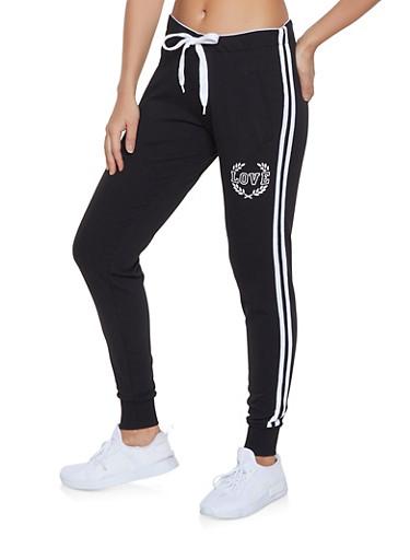 Love Varsity Stripe Joggers,BLACK,large