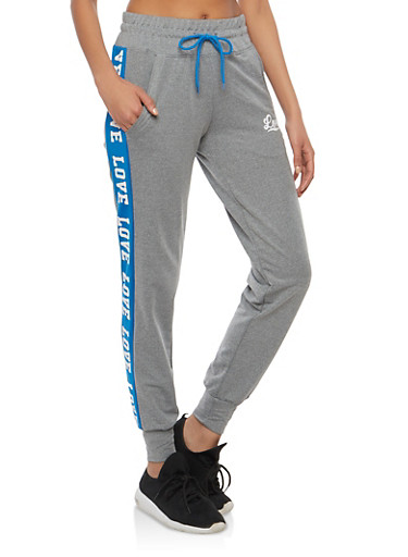 Contrast Stripe Love Graphic Sweatpants,HEATHER ROYAL,large