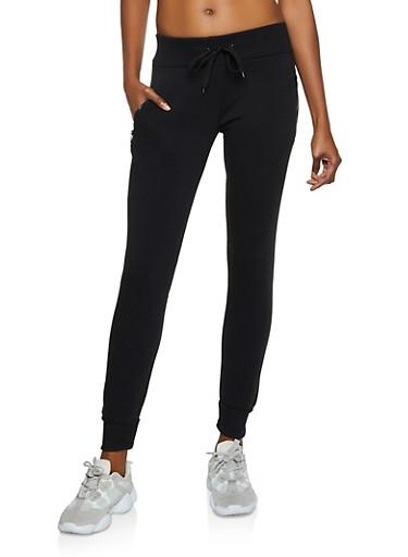 Fleece Zip Pocket Joggers,BLACK,large