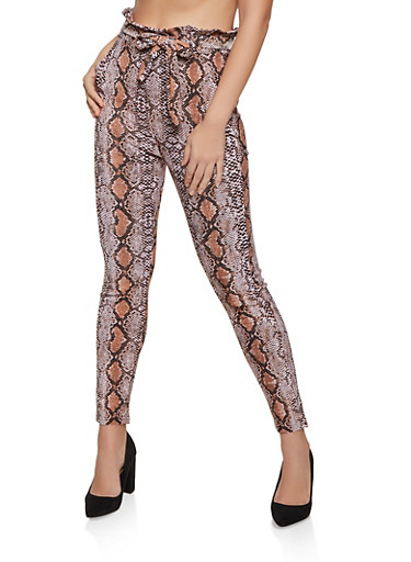 Snake Print Paper Bag Waist Dress Pants,KHAKI,large