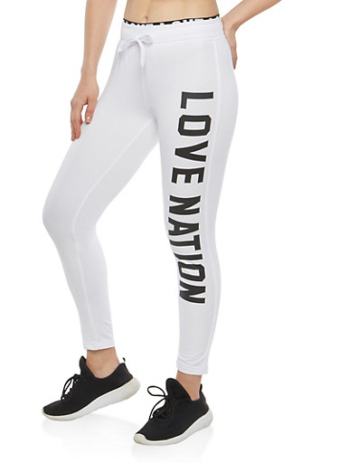 Love Nation Graphic Sweatpants,WHITE,large