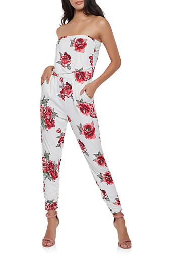 Floral Strapless Jumpsuit,IVORY,large