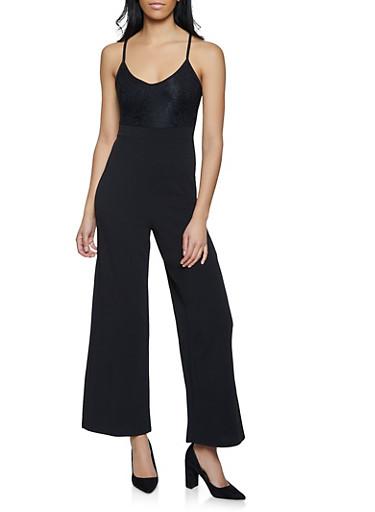 Lace Open Back Cami Jumpsuit,BLACK,large