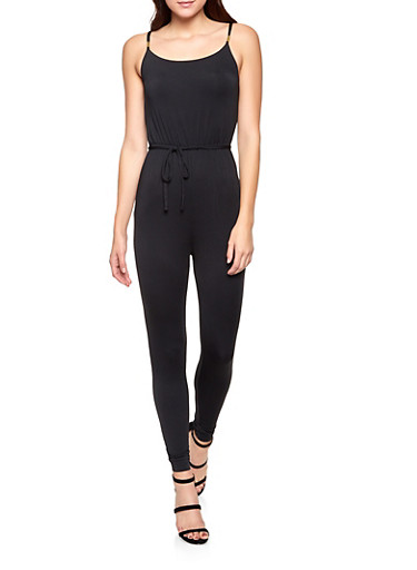 Sleeveless Tie Waist Jumpsuit,BLACK,large