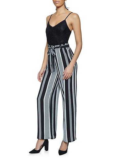 Lace Striped Paper Bag Waist Cami Jumpsuit,BLACK,large