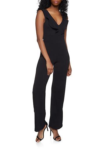 Open Back Ruffled Jumpsuit,BLACK,large