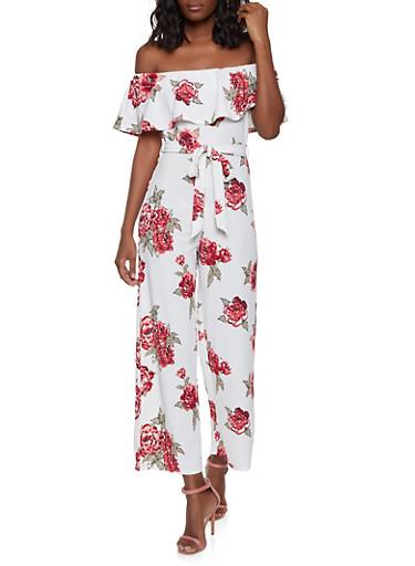 Floral Off the Shoulder Tie Waist Jumpsuit,IVORY,large