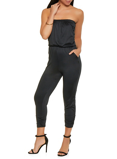 Ruched Strapless Jumpsuit,BLACK,large