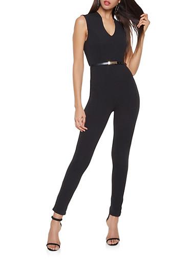 Sleeveless Belted Jumpsuit,BLACK,large