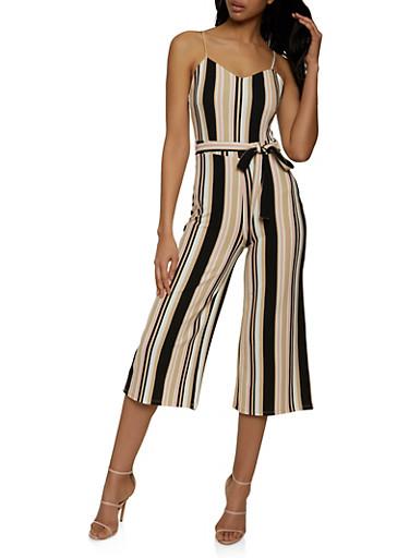 Striped Crepe Knit Wide Leg Jumpsuit,TAN,large