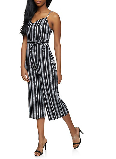 Printed Gaucho Jumpsuit,BLACK/WHITE,large