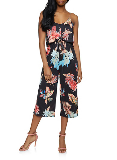 Tie Front Cropped Floral Jumpsuit,BLACK,large
