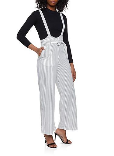 Belted Vertical Stripe Suspender Pants,WHT-BLK,large