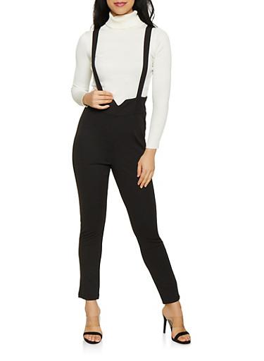 High Waisted Suspender Pants | 1408056577084,BLACK,large