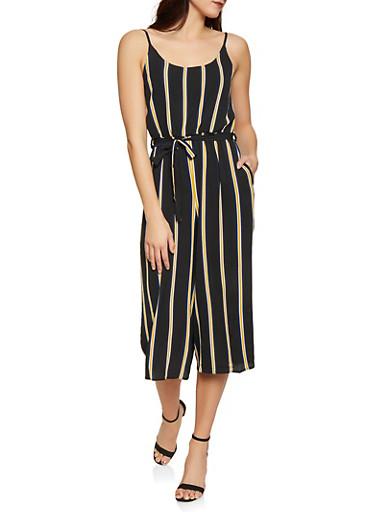 Striped Wide Leg Jumpsuit,BLACK,large
