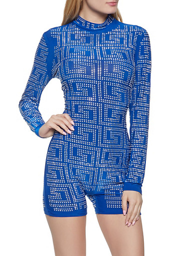 Studded Long Sleeve Romper,RYL BLUE,large