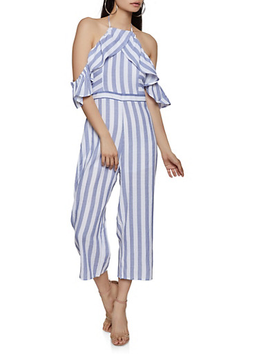 Striped Halter Ruffle Jumpsuit,WHITE,large