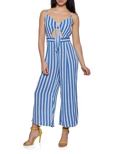 Tie Front Keyhole Striped Jumpsuit,BLUE,large