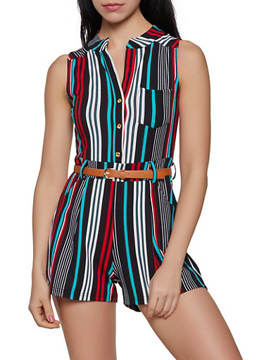 Striped Half Button Romper,BLACK,large