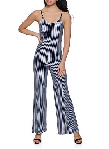 Striped Wide Leg Jumpsuit | 1408062705711,GRAY,large