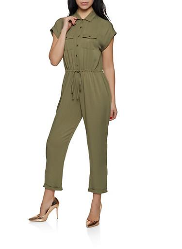 Button Front Jumpsuit | 1408068193329,OLIVE,large