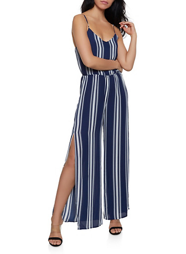 Striped Cami Palazzo Jumpsuit,NAVY,large