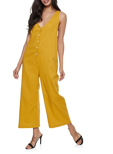 Oversized Linen Jumpsuit,MUSTARD,large