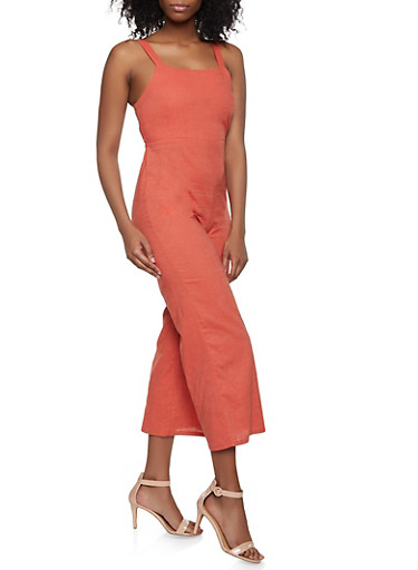 Smocked Back Linen Gaucho Jumpsuit,RUST,large