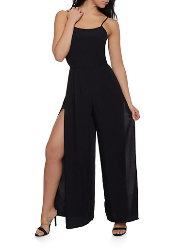 Side Slit Jumpsuit,BLACK,large
