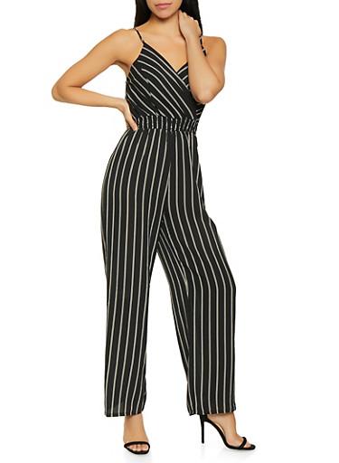 Striped Faux Wrap Jumpsuit,BLACK/WHITE,large