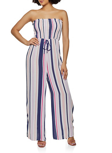 Striped Tube Palazzo Jumpsuit,NAVY,large