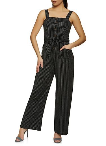 Striped Sleeveless Jumpsuit,BLACK,large