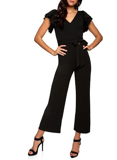 Tiered Sleeve Crepe Knit Jumpsuit,BLACK,large