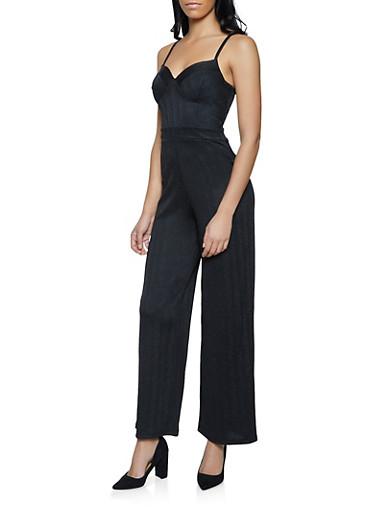 Lurex Bustier Jumpsuit,BLACK,large