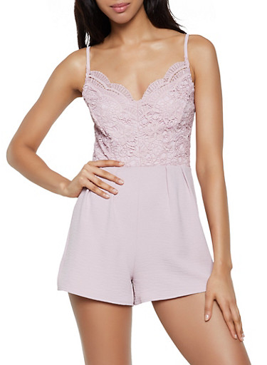 Crochet Top Cami Romper,PINK,large