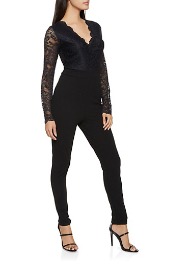 Lace Top Skinny Leg Jumpsuit,BLACK,large