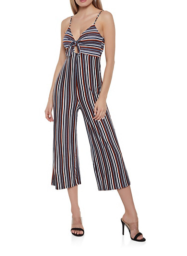 Soft Knit Striped Tie Front Jumpsuit,RUST,large